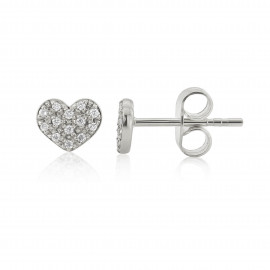9ct White Gold Diamond Heart Earrings