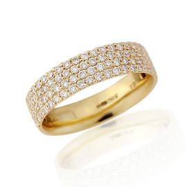 18ct Yellow Gold Diamond 4 Row Pavee Ring
