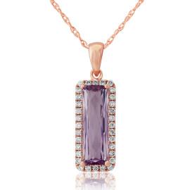 9ct Rose Gold Diamond & Amethyst Cushion Pendant Necklace
