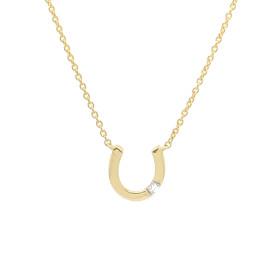 9ct Yellow Gold Diamond Horseshoe Necklace