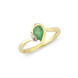 9ct Yellow Gold Diamond Emerald Pear Ring