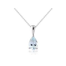 9ct White Gold Aquamarine Pendant Necklace