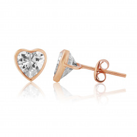 9ct Rose Gold Cubic Zirconia Heart Earrings (Large)