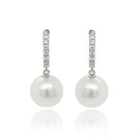 9ct White Gold Diamond & Culture Pearl Huggy Earrings