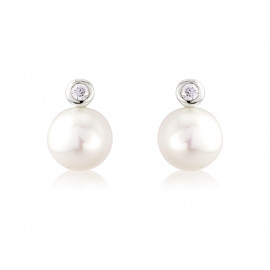 9ct White Gold Diamond & Pearl Snowman Earrings
