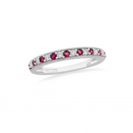 9ct White Gold Ruby & Diamond Half Eternity Ring