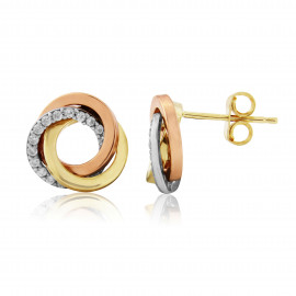 9ct Three Colour Gold Cubic Zirconia Earrings