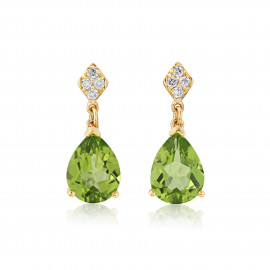 9ct Yellow Gold Diamond And Peridot Earrings
