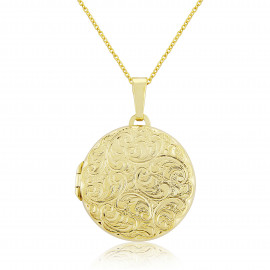 9ct Yellow Gold Round Embossed Locket Necklace