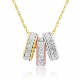 9ct Gold Glitter Trio Pendant Necklace