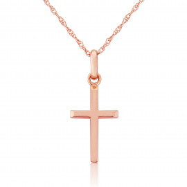 9ct Rose Gold Cross Pendant Necklace