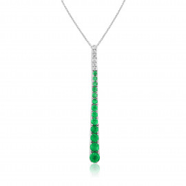 18ct White Gold Diamond & Emerald Stick Pendant Necklace