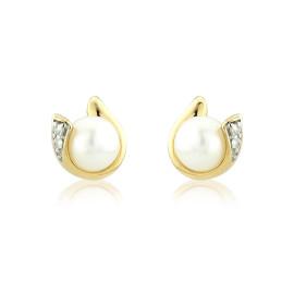 9ct Yellow Gold Pearl & Diamond Curl Earrings