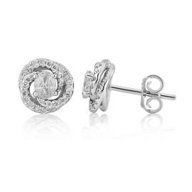 18ct White Gold Diamond Fleur Earrings