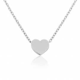 9ct White Gold Heart Pendant Necklace