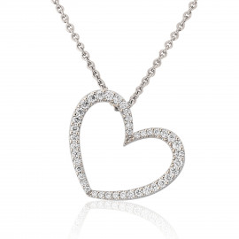 18ct White Gold Diamond Heart Pendant Necklace