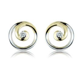 9ct Yellow And White Gold Diamond Swirl Earrings