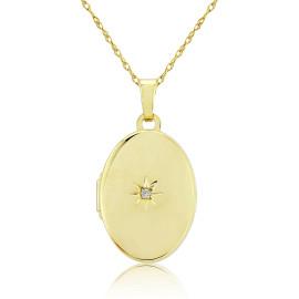 9ct Yellow Gold Diamond Oval Locket Necklace