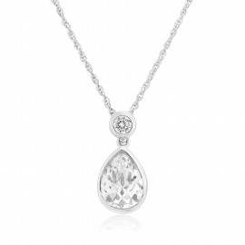 9ct White Gold Cubic Zirconia Teardrop Pendant Necklace