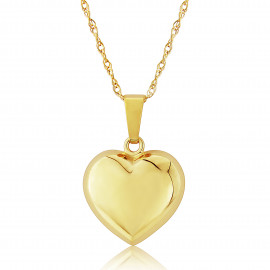 9ct Yellow Gold Puffed Heart Pendant Necklace (Medium)