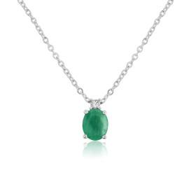 9ct White Gold Emerald & Diamond Pendant Necklace