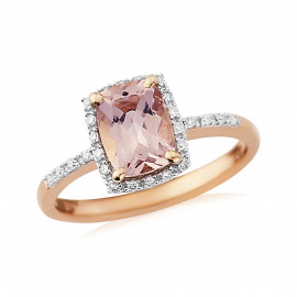 9ct Rose Gold Diamond Morganite Ring