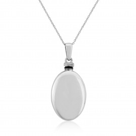 Silver Puff Oval Bottle Pendant Necklace
