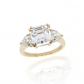 9ct Yellow Gold Cushion & Heart Cut Cubic Zirconia Ring