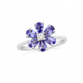9ct White Gold Diamond & Tanzanite Flower Ring
