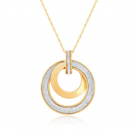 9ct Yellow Gold Glitter Sun Pendant Necklace