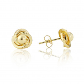 9ct Yellow Gold Knot And Ball Stud Earrings