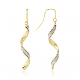 9ct Yellow Gold Glitter Twirl Earrings
