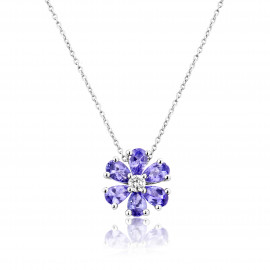 9ct White Gold Diamond & Tanzanite Flower Pendant Necklace