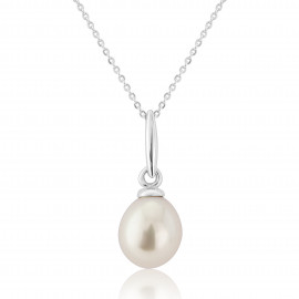 9ct White Gold Pearl Pendant Necklace
