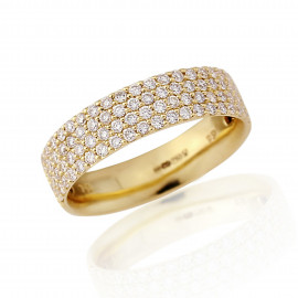 18ct Yellow Gold Diamond 4 Row Pavee Ring