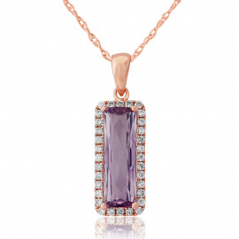 9ct Rose Gold Diamond & Amethyst Cushion Pendant Necklace