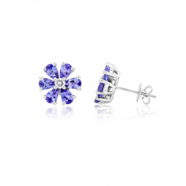 9ct White Gold Diamond & Tanzanite's Flower Earrings