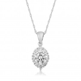 9ct White Gold Cubic Zirconia Pendant Necklace