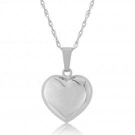 9ct White Gold Puffed Heart Pendant Necklace (Medium)