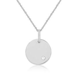9ct White Gold Diamond Engraving Disc Pendant Necklace