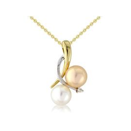 9ct Yellow Gold Diamond Multi Colour Pearl Pendant Necklace