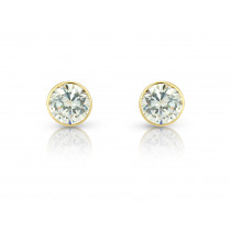 9ct Yellow Gold Cubic Zirconia Round Stud Earrings