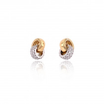 18ct Yellow & White Gold Diamond Double Ring Stud Earrings