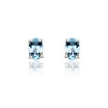 9ct White Gold Aquamarine Earrings