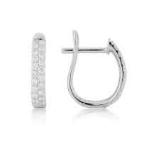 18ct White Gold Diamond Pavee Earrings