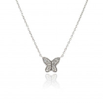 9ct White Gold Diamond Butterfly Necklace