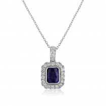 18ct White Gold Sapphire & Diamond Surround Pendant Necklace