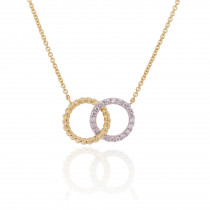 9ct Yellow Rope and White Gold Diamond interlinked Necklace