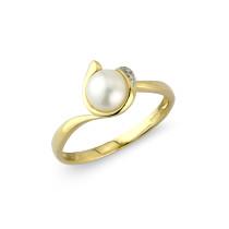9ct Yellow Gold Diamond Pearl Ring