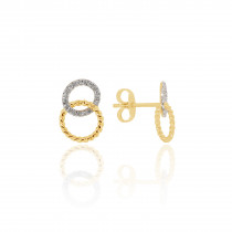 9ct Yellow Rope and White Gold Diamond interlinked Earrings